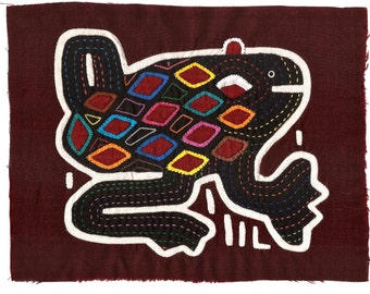 Fanciful Frog Mola - Hand Sewn Kuna Indian Applique and Embroidery