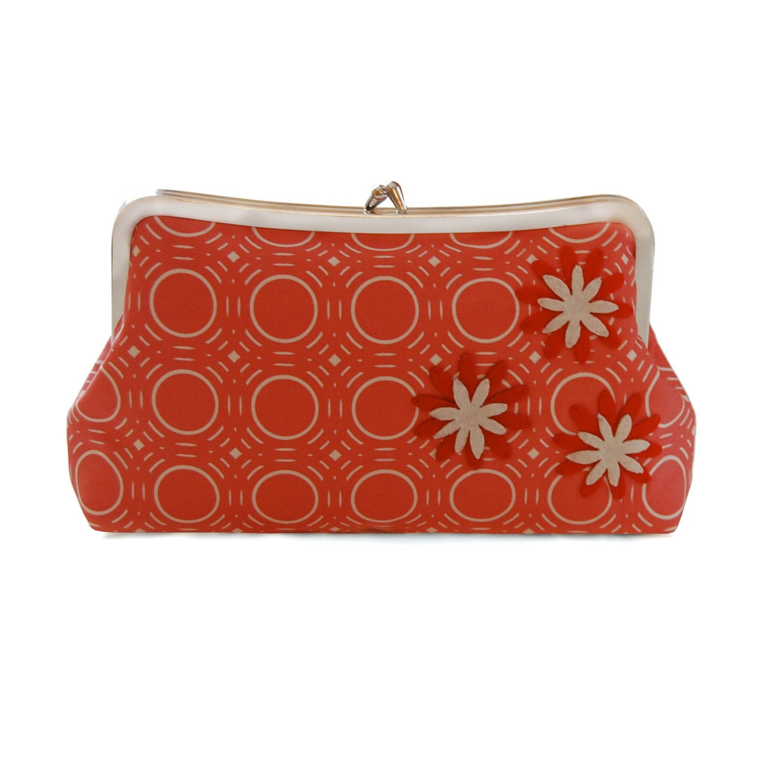 Red Clutch Purse Red Floral Clutch Geometric Clutch