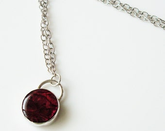 red paua shell and sterling silver necklace