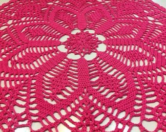 Pima Cotton Doily in Bright Pink