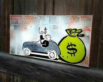 Monopoly Uncle Pennybags Custom Order Graffiti Art Painting on Traditional Studio Canvas Pop Art Style Original Artwork Stencil Vintage