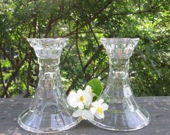 Vintage Candlesticks - Clear Pressed Glass Pair