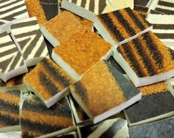 China Mosaic Tiles - 120 Vintage Stoneware Tiles - Hand Cut Mosaic Tiles
