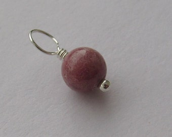 Pink Rhodonite 6mm Sterling Silver Dangle Charm, With or Without Sterling Silver Jump Ring