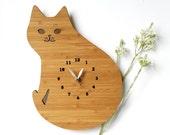 Wood wall Clock, Cat Clock, Modern Wall Clock