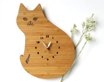 cat wall clock, Cat lover gift, cute decoration, wall decor, wood clock