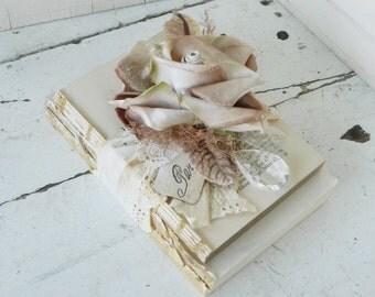 Old Book Bundle Embellished w/ Vintage Velvet Brown Rose Lace Rhinestones Glass Prism