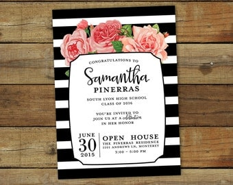 Stripes graduation party invitation, roses and  thick stripes printable graduation open house or graduation party invite card, class of 2017