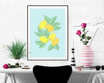 Lemons Decorative Illustration Art Poster