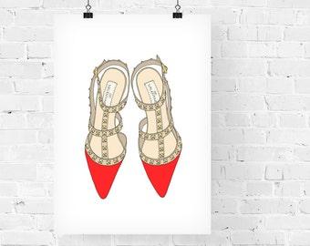 Studded Heels Red Fashion Illustration Art Print