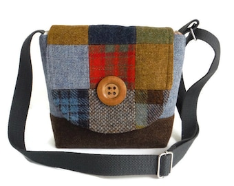 Harris Tweed - One-of-a-Kind - Patchwork Crossbody Satchel - Messenger - One-of-a-Kind - Purse - Tartan - Check