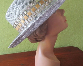 Bling! Silver Straw Fedora Hat Sun Shade Rhinestone Band