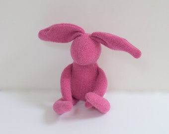 Handmade pink Bunny Small stuffed Rabbit hare soft doll kids unisex upcycled pink wool sweater eco toy comforting bubynoa Bunnies