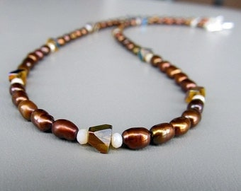 Handmade beaded necklace brown pearls COFFEE AND PEARLS necklace