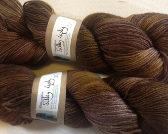 50/50 merino silk hand dyed 4ply yarn Chocolatte  380yds approx