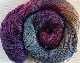 50/50 merino silk hand dyed 4ply yarn Hydrangea 380yds approx