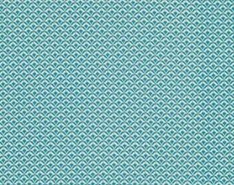 Deco Fans in Willow - Shelburne Falls - Denyse Schmidt - FreeSpirit Fabrics - Polka Dot Teal Blue Aqua Blender