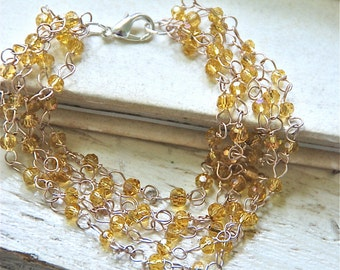 Multi chain bracelet/citrine  glass bracelet/ yellow bracelet. Tiedupmemories