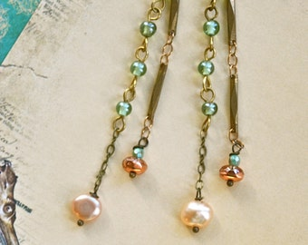 Long bohemian chain earrings,dangle boho beaded pearl earrings. Tiedupmemories
