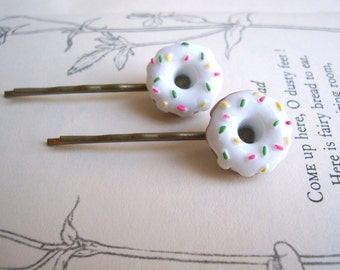 Little Donuts with Sprinkles bobby pins - white icing with pink, green and yellow on brass hair pins - petite food