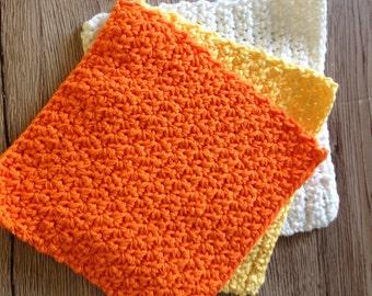 Cotton crochet dishcloth, cotton washcloth, cotton dishrag, set of 3, Candy corn dishcloths, the Halloween collection