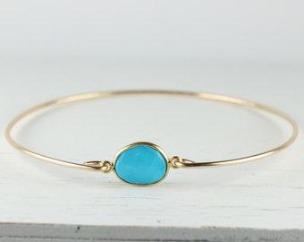 Turquoise and Gold Filled Bangle Bracelet, Gold Bracelet, Turquoise Bangle Bracelet, Turquoise Gold Bangle [#794]