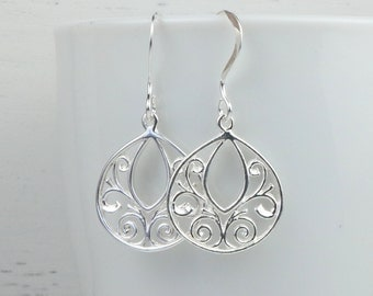 Sterling Silver Filigree Teardrop Earrings, Filigree Sterling Silver Earrings, Small Drop Earrings, Small Silver Earrings [#908]