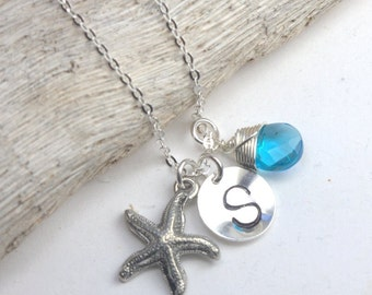 Personalized Silver Necklace with Starfish Charm and Bright Blue Quartz Bead #625