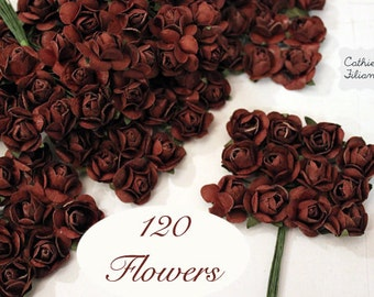 120 Brown Paper Flowers - Small Bouquet - weddings, party favor making, invitaion making, scrapbooking