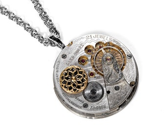 Steampunk Jewelry Necklace Antique 2 Tone GOLD & SILVER Guilloche RuBY Pocket Watch Pendant Button Womens Gift - Jewelry by edmdesigns
