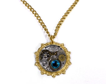 Steampunk Jewelry Necklace ELGIN Pocket Watch ETCHED Gold Gears Turquoise Swarovski Wedding Mothers Day - Steampunk Jewelry by edmdesigns