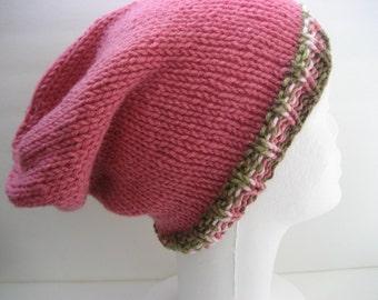Hand Knit Slouchy Beanie Hat, Pink with Brown Trim Stripes, Vegan Friendly Acrylic, Wearable Fiber Art Winter Cap Warm Dreadlocks Casual