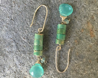 Campo Frio Turquoise & Chalcedony Sterling Silver Earrings