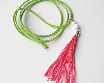 Pink tassel necklace, boho jewelry, hipster jewelry, long necklace, casual necklace, colorful necklace