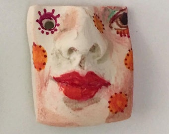 clay face OOAK Handmade pendant woman face  jewelry craft supplies  face polymer