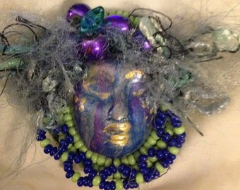clay face goddess beaded  jewelry craft supplies  mosaic tile handmade cabochon polymer findings woman