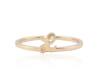 Rose Gold Monogram Ring - Initial Stacking Ring with Cursive Uppercase Letter L - Personalized Knuckle Ring - LS4729