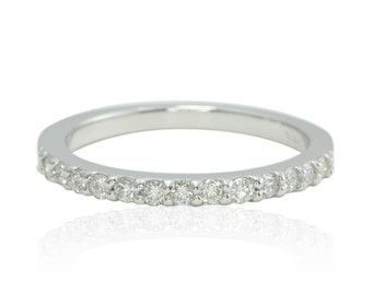 Diamond Wedding Band, 14kt White Gold and Diamond Half Eternity Band - Prong Set with Squared Band - LS1074