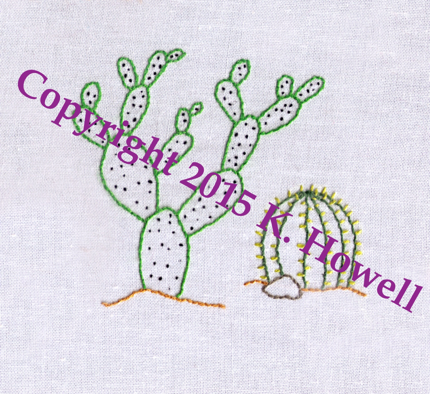 Cactus Hand Embroidery Pattern Two Cacti Desert Succulent