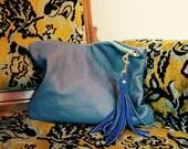 NEW XL Oxford Single/// Blue Bubble Lambskin ///Fold Over Clutch/// Pouch
