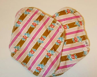 Set of 2 Strips with flowers Printed Reusable Cloth Mama Pads . 8 Inch FREE Shipping