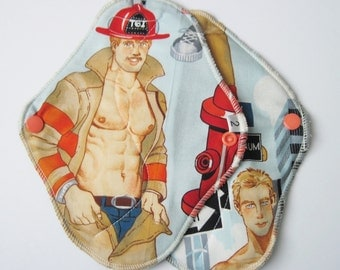 Set of 2 Blonde Firefighters Printed Reusable Cloth Menstrual Mama Pads . 8 Inch FREE Shipping