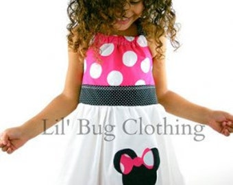 Hot Pink Minnie Mouse Swing Dress, Hot Pink Jumbo Dot Minnie Dress, Minnie Mouse Disney Jumper Dress