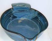 Blue Batter Bowl with Flat Bottom - Great for Dredging French Toast - Wheel Thrown Pottery with Chattered Texture