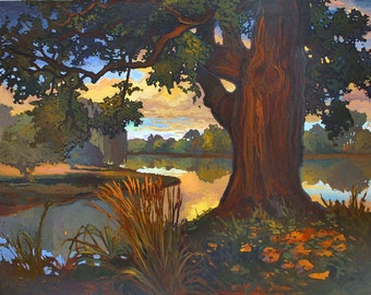 Oak Creek - Giclee Fine Art PRINT of Original Painting matted 16x20 by Jan Schmuckal