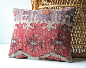 Antique wool  kilim accent pillow - boho bohemian style decor