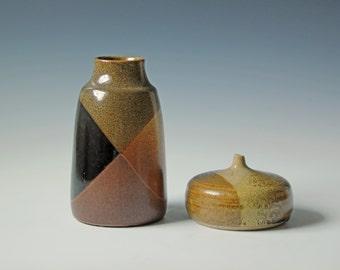 2 Vintage studio pottery vases - black, brown geometric glazed - flower vases