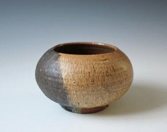 Vintage art studio pottery vase or planter - two toned brown glazed - modernist vase