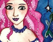 Sea Stardust Mermaid ACEO Original Fantasy Art Painting 2,5 x 3,5  Embellished Mermaid Illustration by Niina Niskanen