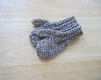 Child Wool Blend Mittens Small Hand Knit Mushroom